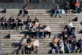 people sitting stairs